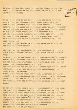 Information über Demonstrationen im Anschluss an das Montagsgebet in Leipzig am 2. Oktober 1989