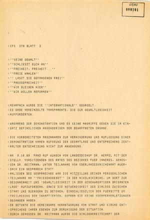 Information über eine nichtgenehmigte Demonstration im Stadtzentrum von Leipzig am 9. Oktober 1989