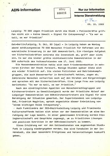 Westliche Medienberichten zur Montagsdemonstration in Leipzig am 9. Oktober 1989
