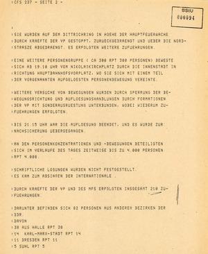 Bericht über Demonstrationen in der Innenstadt von Leipzig am 7. Oktober 1989