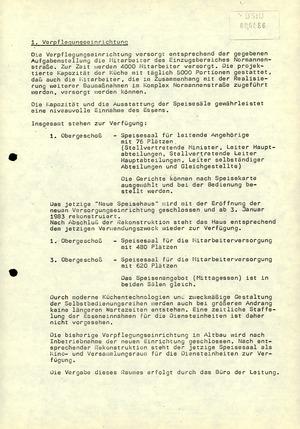 """Vorbereitung der Inbetriebnahme des """"Dienstleistungs- und Versorgungszentrums"""" in der Stasi-Zentrale"""