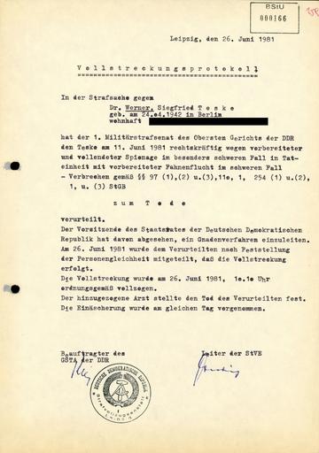 Vollstreckungsprotokoll des Todesurteils in der Strafsache gegen Werner Teske