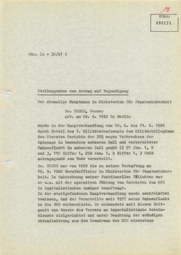 Stellungnahme zum Antrag auf Begnadigung von Werner Teske